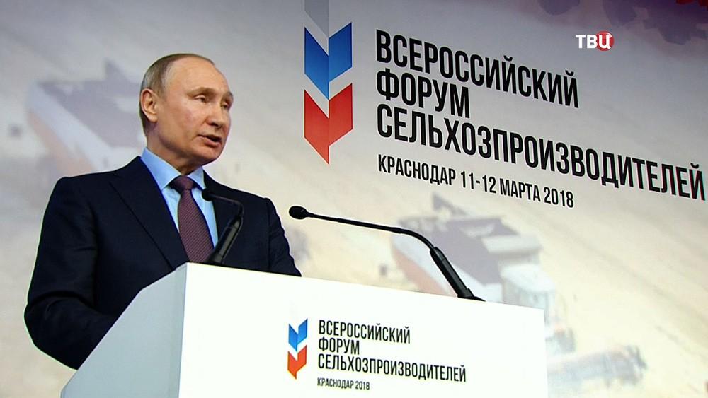 Владимир Путин на Всероссийском форуме сельхозпроизводителей