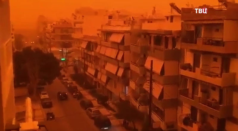 Песчаная буря на острове Крит