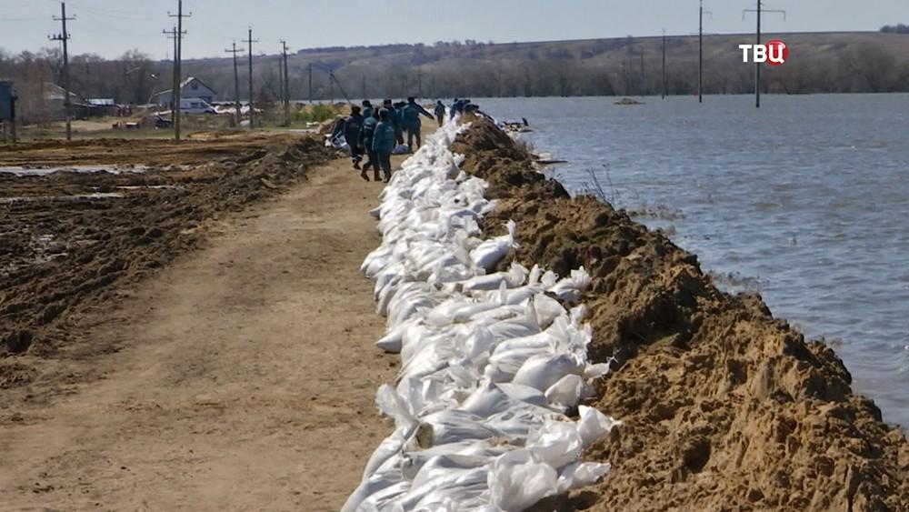 Сотрудники МЧС возводят платину на границе паводка