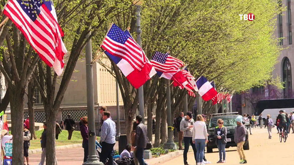 Флаги Франции и США