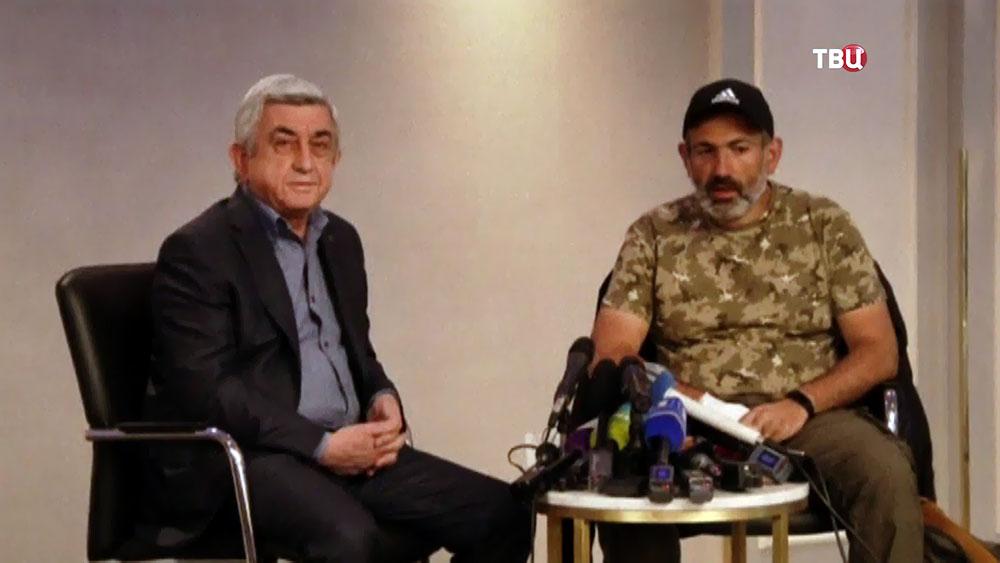 Серж Саргсян и представитель оппозиции Никол Пашинян