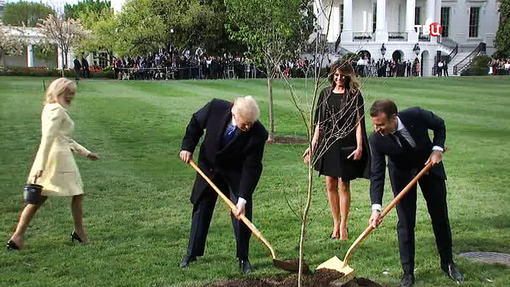 Дональд Трамп и Эммануэль Макрон сажают дерево у Белого дома