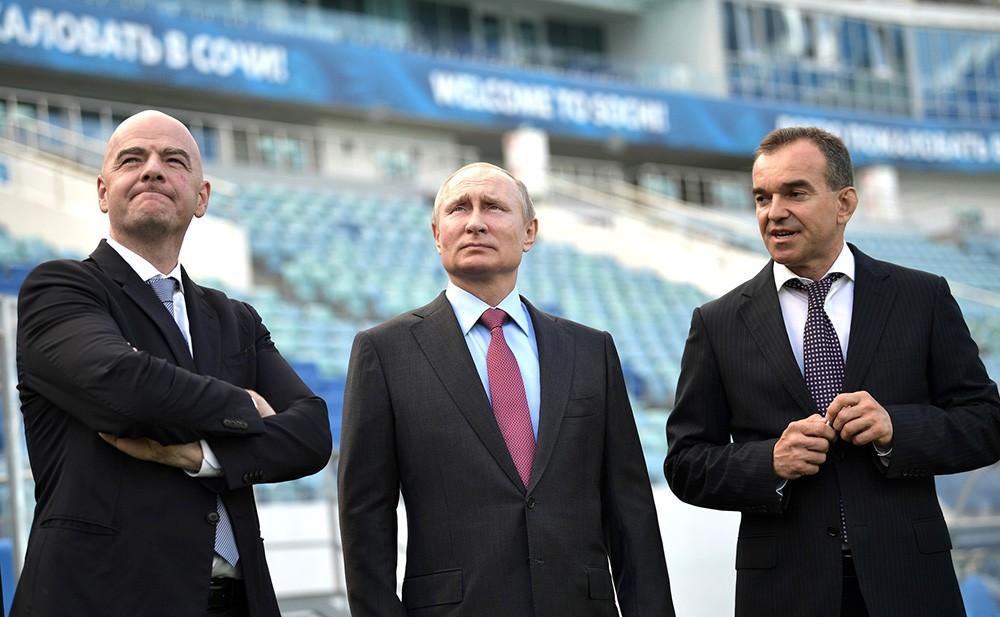 Владимир Путин, Джанни Инфантино и Вениамин Кондратьев