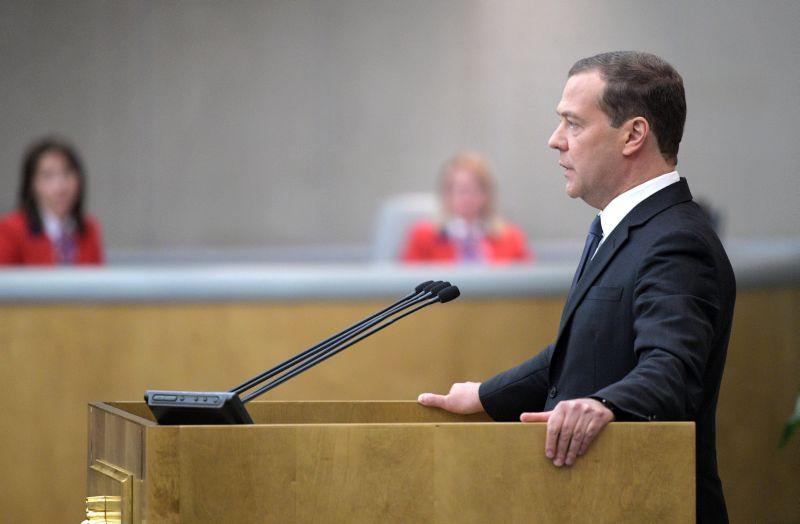 Исполняющий обязанности председателя правительства России Дмитрий Медведев во время пленарного заседания Государственной Думы