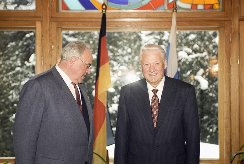 Гельмут Коль и Борис Ельцин