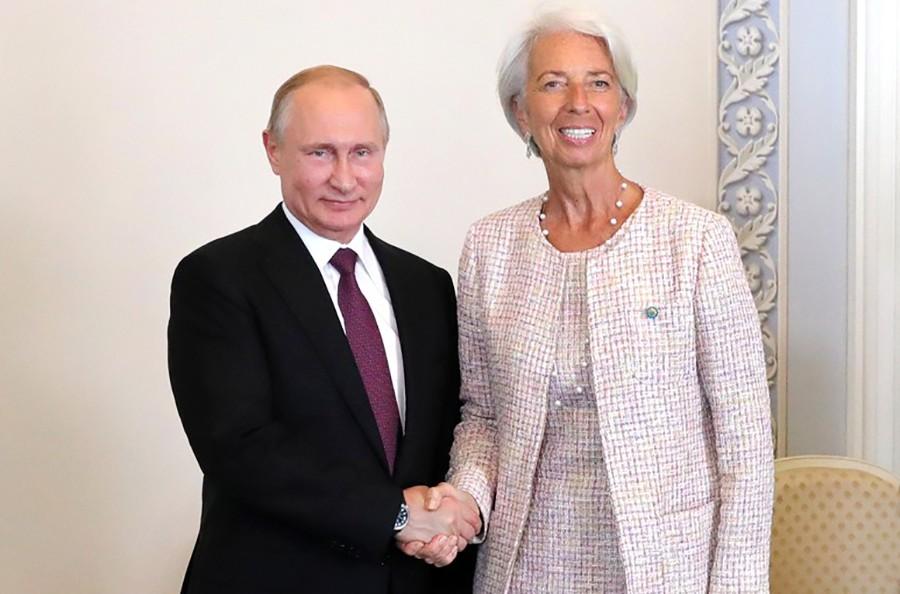 Президент России Владимир Путин и директор-распорядитель Международного валютного фонда Кристин Лагард
