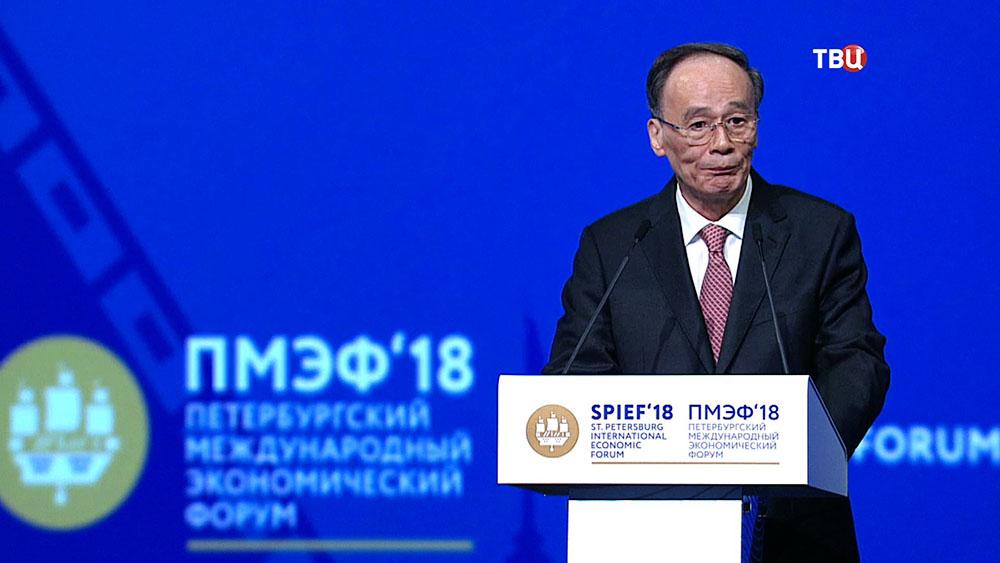Заместитель председателя КНР Ван Цишань на Международном экономическом форуме в Санкт-Петербурге