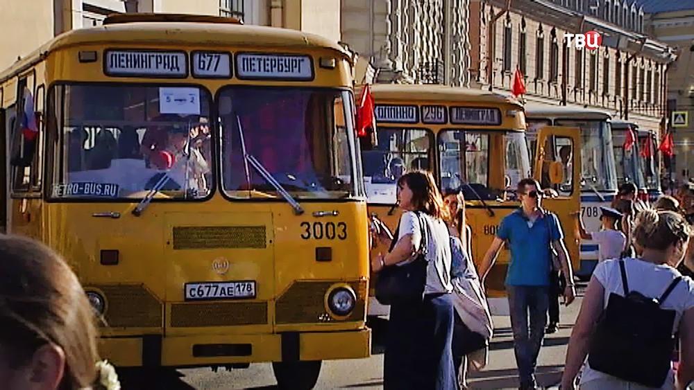 Выставка ретро-автобусов в Санкт-Петербурге