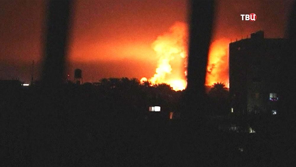 Авиаудар ВВС Израиля по целям ХАМАС в секторе Газа