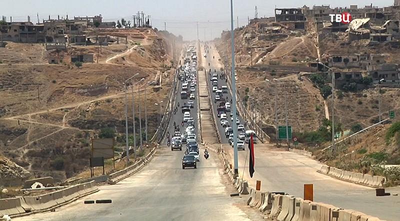 Трассе Хомс-Хама в центральной Сирии