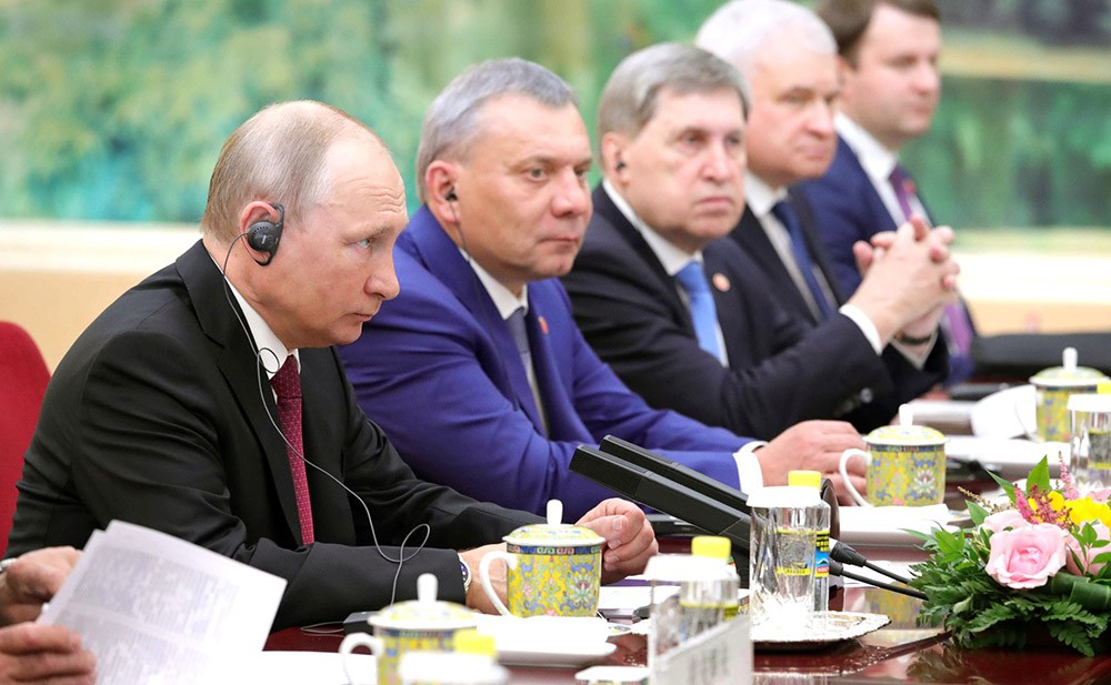 Президент России Владимир Путин во время российско-китайских переговоров в Пекине