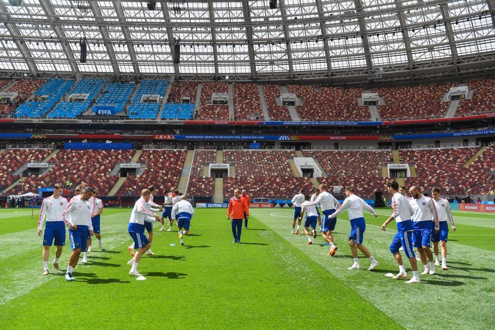 Тренировка сборной России в преддверии чемпионата мира по футболу FIFA 2018