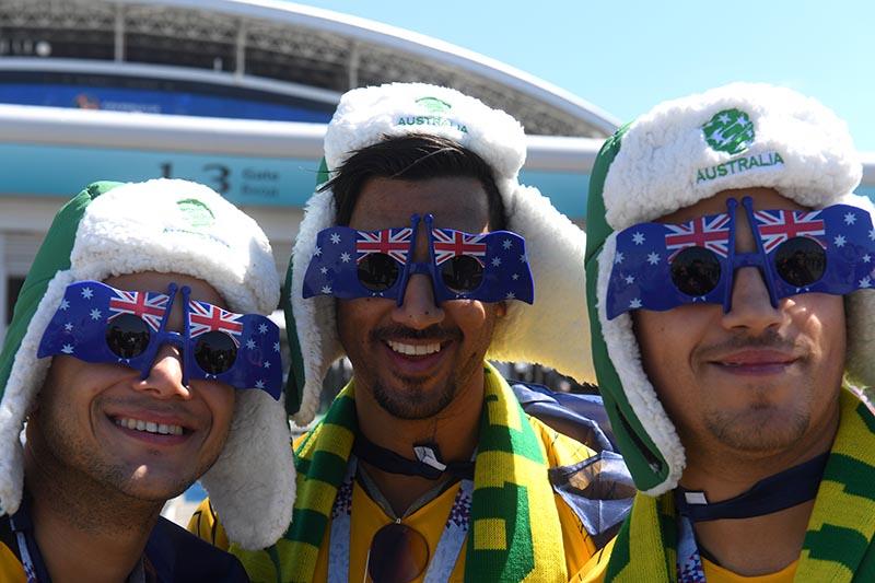 Болельщики сборной Австралии перед началом матча
