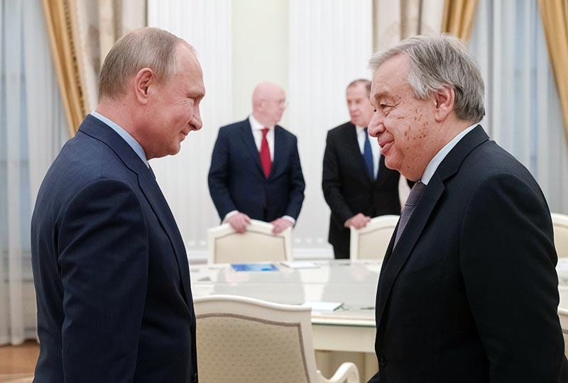 Президент РФ Владимир Путин и генеральный секретарь ООН Антониу Гутерреш