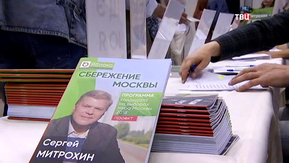 """Брошюра кандидата на пост мэра от партии """"Яблоко"""" Сергея Митрохина"""