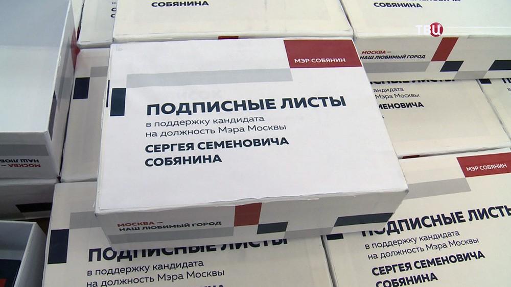 Подписные листы в поддержку кандидата в мэры Москвы Сергея Собянина