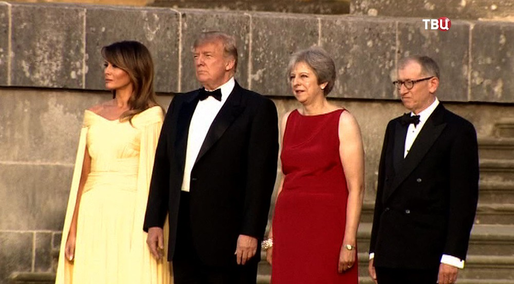 Дональд Трамп, Мелания Трамп и Тереза Мэй