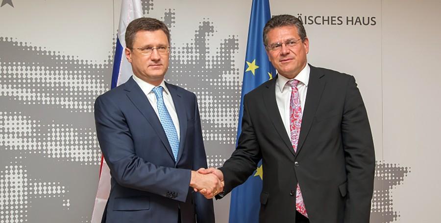 Глава Минэнерго России Александр Новак и зампредседатель Европейской комиссии Марош Шефчович