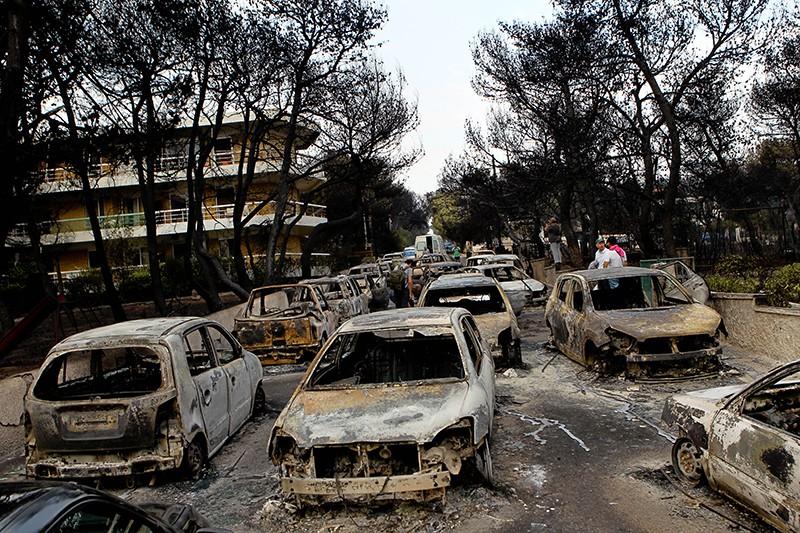 Последствия лесных пожаров в Греции