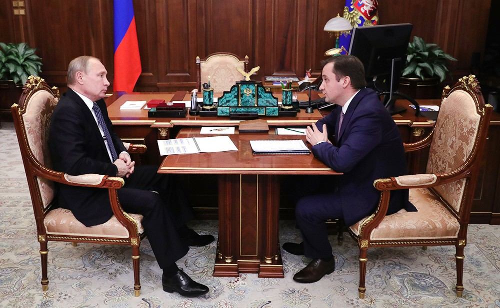 Президент России Владимир Путин и врио губернатора Ненецкого автономного округа Александр Цыбульский