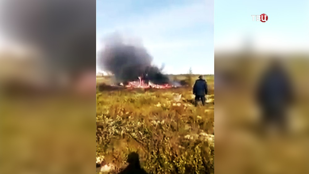 Последствия крушения вертолёта Ми-8 в Красноярском крае