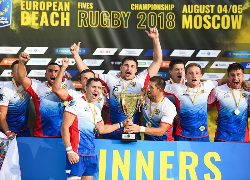 Игроки сборной России, победившие на чемпионате Европы по пляжному регби среди мужчин