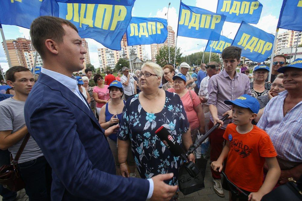 Встреча кандидата на пост мэра Москвы Михаила Дегтярева с жителями рабочего пос. Киевский