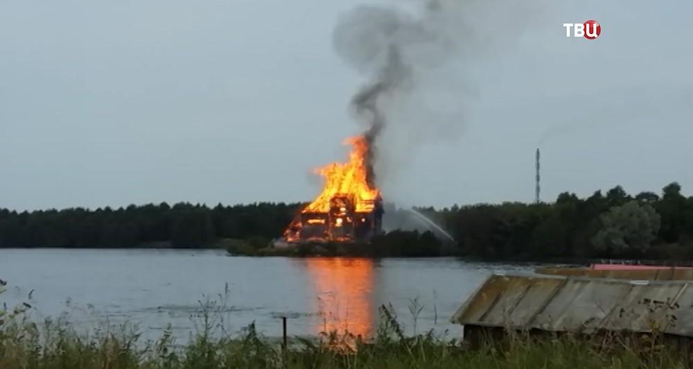 Возгорание церкви XVIII века в Карелии
