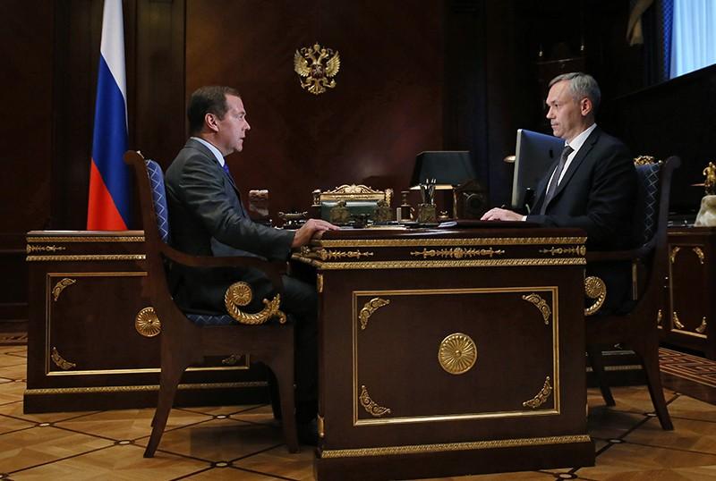 Дмитрий Медведев и врио губернатора Новосибирской области Андрей Травников