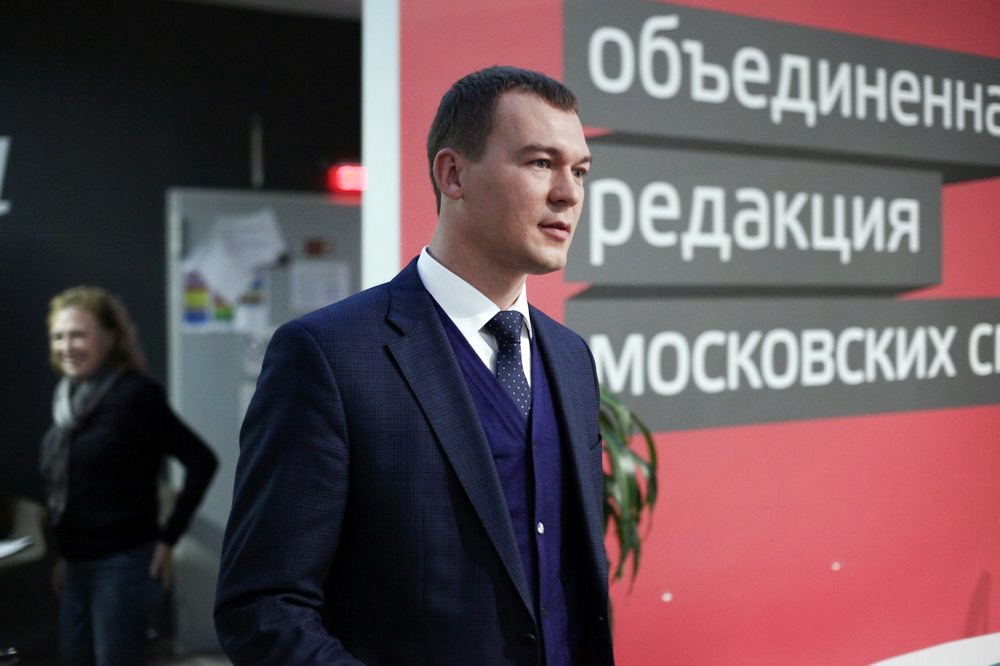 Кандидат на пост мэра Москвы от ЛДПР Михаил Дегтярев перед началом предвыборных теледебатов