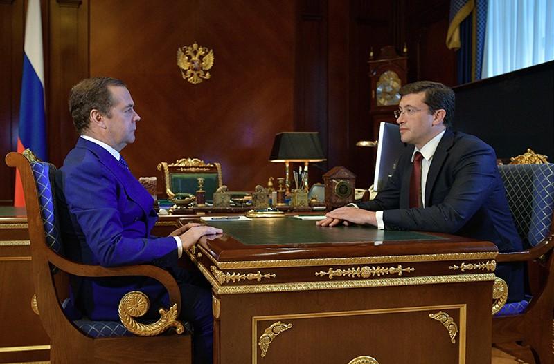 Дмитрий Медведев и врио губернатора Нижегородской области Глеб Никитин