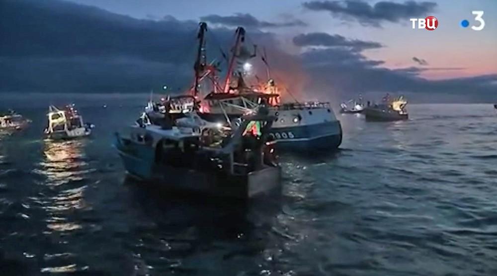 Морской бой в Ла-Манше между французами и британцами