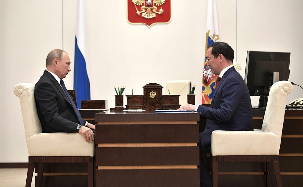 Владимир Путин и врио главы Республики Саха (Якутия) Айсен Николаев