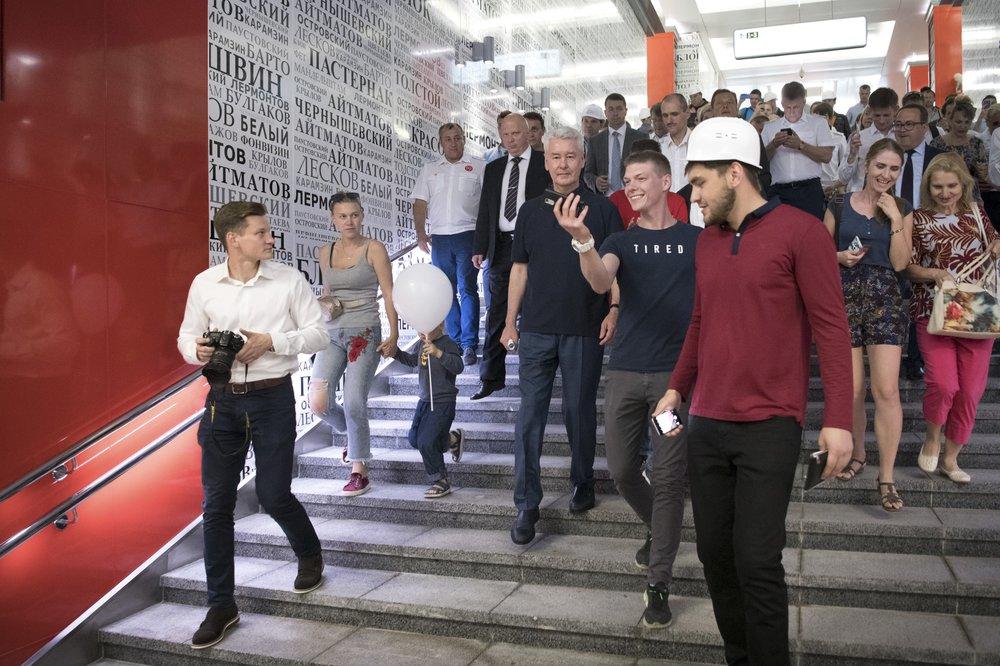 Сергей Собянин во время открытия участка Калининско-Солнцевской линии метро