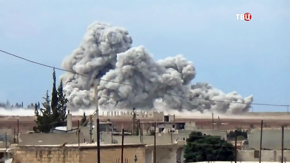 Последствия авиаудара ВВС США по территории Сирии
