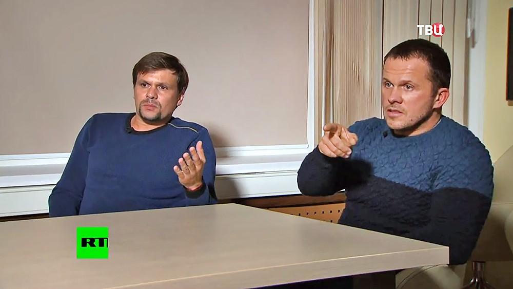 Александр Петров (справа) и Руслан Боширов, подозреваемые в покушении на Скрипалей