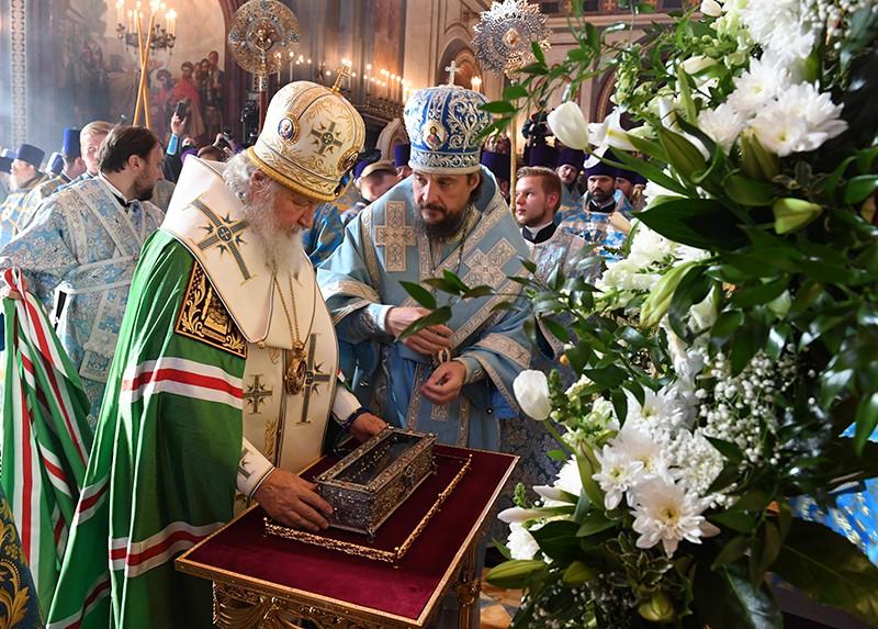 Патриарх Московский и всея Руси Кирилл на церемонии встречи мощей святителя Спиридона Тримифунтского