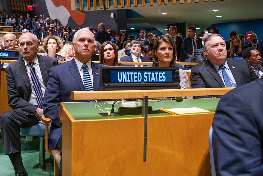 Майкл Пенс, Никки Хейли и Майк Помпео на Генассамблее ООН