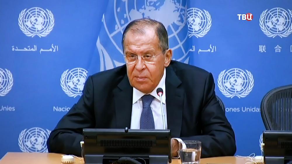 Глава МИД России Сергей Лавров на заседании в ООН