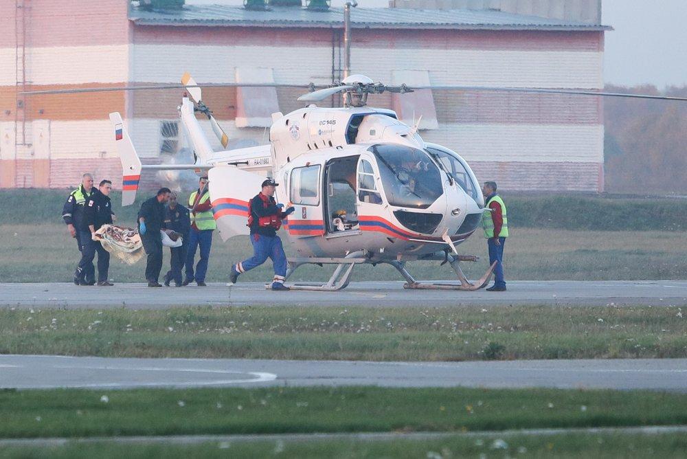 Прибытие в столичный аэропорт Остафьево самолета с пострадавшими в результате трагедии в Керчи
