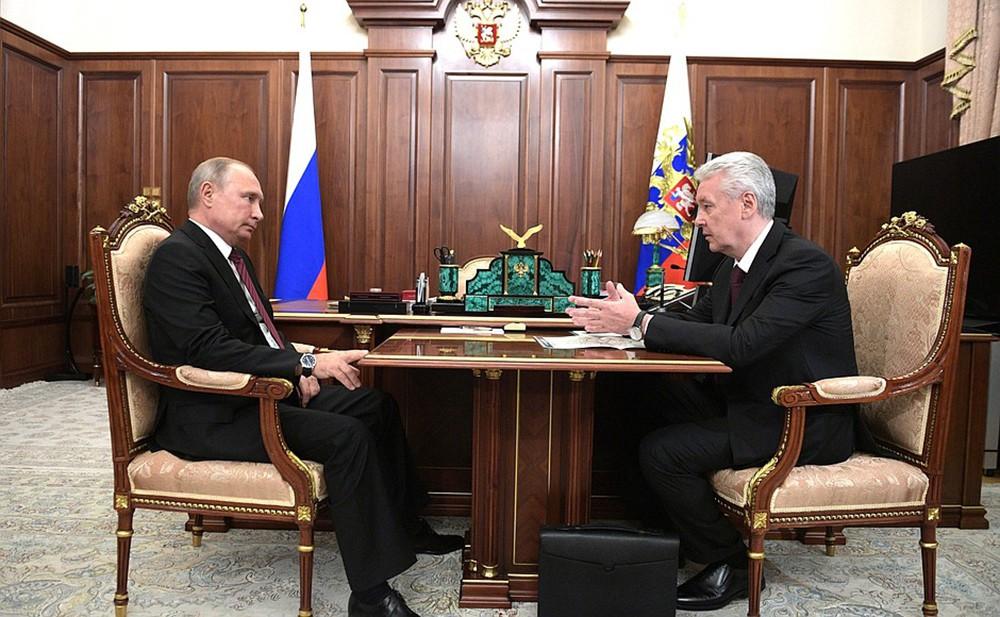 Владимир Путин и Сергей Собянин во время встречи