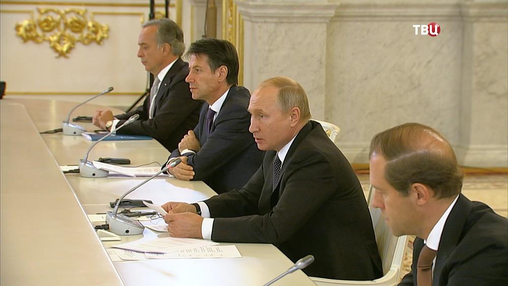 Владимир Путин и Джузеппе Конте на встрече с итальянским бизнес-сообществом