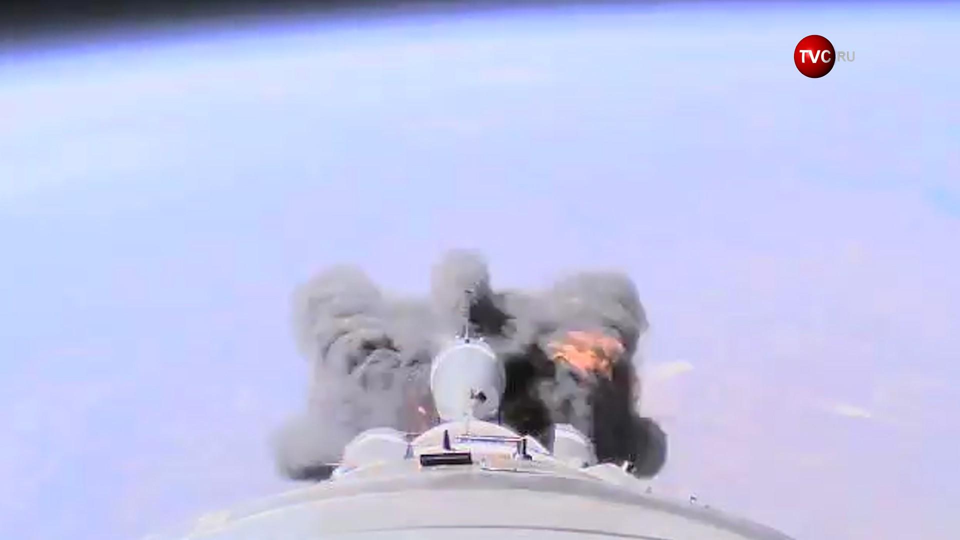 """Аварийная ситуация во время запуска ракета-носителя """"Союз-ФГ"""""""