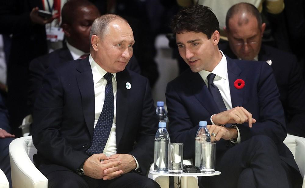 Владимир Путин и премьер-министр Канады Джастин Трюдо