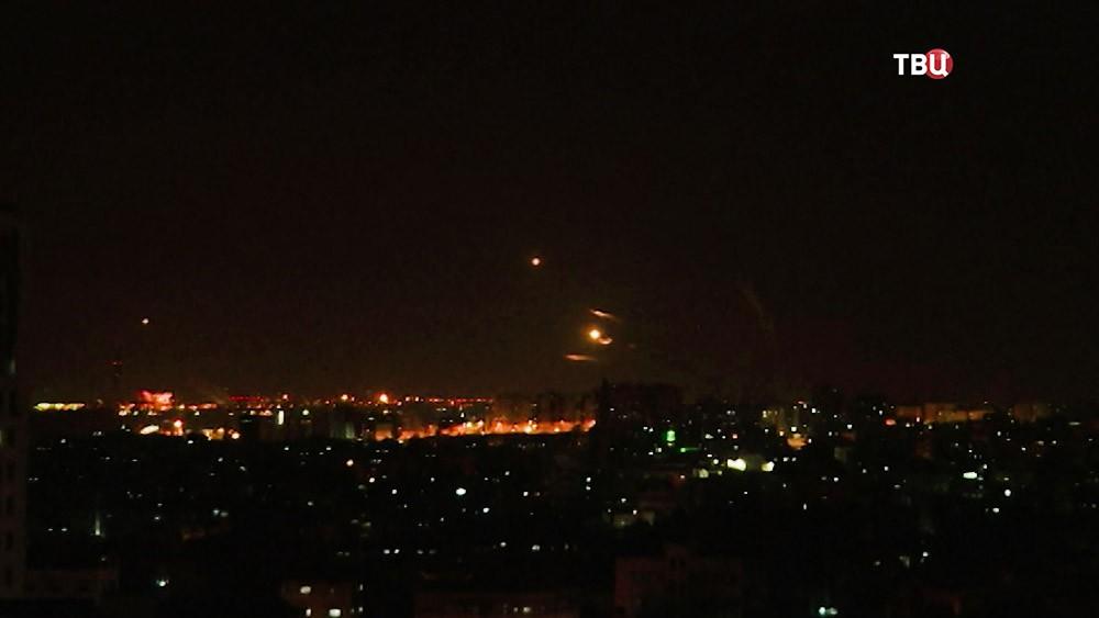 Работа системы ПВО Израиля