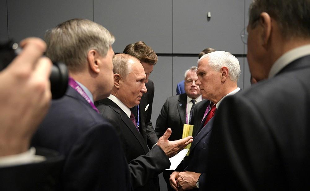 Владимир Путин и Майкл Пенс