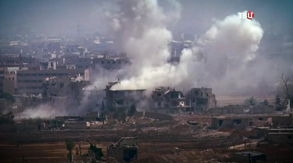 Последствия авиаудара. Хаджин, Сирия