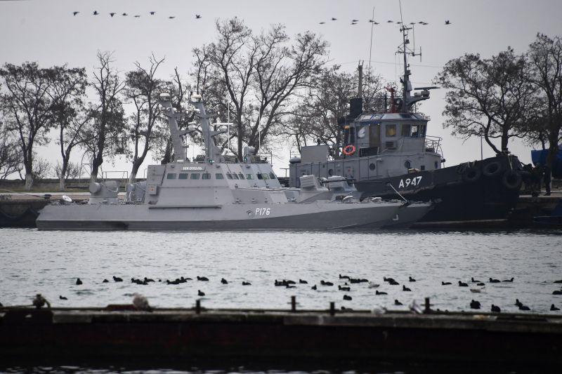 Задержанные корабли ВМС Украины в порту Керчи