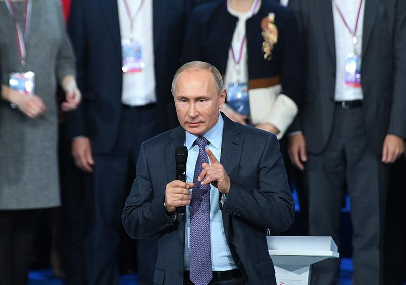 Президент РФ, лидер ОНФ Владимир Путин выступает на съезде Общероссийского народного фронта