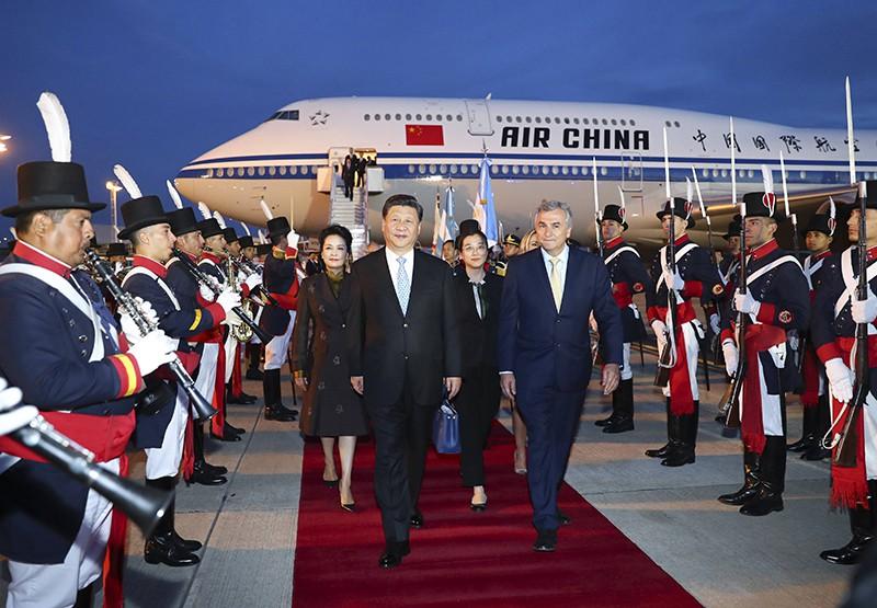 Председатель КНР Си Цзиньпин и его жена Пэн Лиюань АР прибыли на саммит G20